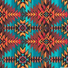 Southwestern Sunset - Native American Geometrics - Turquoise