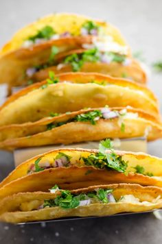 These flavorful crispy potato tacos (tacos de papa) are crunchy on the outside and creamy on the inside. They& vegetarian and easy to make at home. Potato Recipes, Veggie Recipes, Mexican Food Recipes, Dinner Recipes, Healthy Recipes, Ethnic Recipes, Mexican Cooking, Potato Dishes, Healthy Eats
