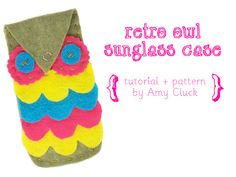 retro owl sunglasses case