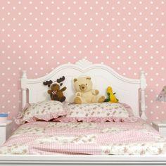 #Kinderzimmer Tapeten   Vliestapeten Premium   No.YK57 Weiße #Punkte Auf  #Rosa
