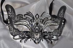 Luxurious Black Laser Cut Venetian Mardi Gras Masquerade Mask with Sparkling Rhinestones