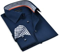 Button-Up Shirt // Navy Navy Check Men¡¯S Better Dress Shirts. Trimmed Inside The Collar, Cuff And The Placket. True Non-Iron Finish Modern Outfits, Vintage Style Outfits, Man Dress Design, Clothing Store Interior, Long Sleeve Shirt Dress, Dress Shirts, Popular Mens Fashion, Kid Shoes, Casual Shirts