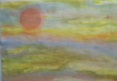 Hand Dye Sky Fabric    Orange Yellow Sun by MaterialisticVisions