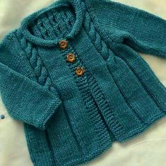 Hand Knitted Cardigan, Baby cardigan, Baby clothes, Baby, B Baby Sweater Knitting Pattern, Knit Baby Sweaters, Baby Knitting Patterns, Knitting Designs, Baby Patterns, Diy Crafts Knitting, Knitting For Kids, Free Knitting, Cardigan Bebe