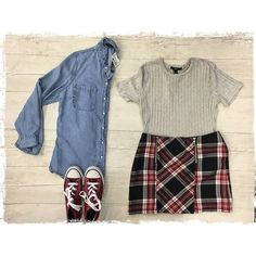 Schoolgirl inspired preppy look  We just put out HUNDREDS of long sleeve tops @ Harwood Heights! Including your fave basics: denim and flannel button ups! Pair with a skirt and some chucks for a classic preppy look http://ift.tt/2a1WdkN - http://ift.tt/1HQJd81