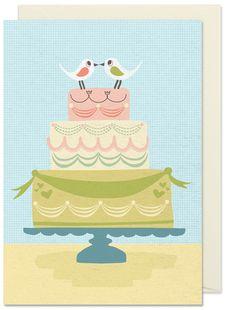 Wedding Cake By Kort & Gott #weddingcake #wedding #illustration #lovebirds #swedishdesign #made in sweden #print