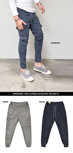 Slant Seam Cargo Banding Jogger-Pants 253 by Guylook.com  Great quailty pre-washed spandex cotton with excellent flexibility Super comfy & flattering sli pattern Banding waist with drawcord & cargo pockets Absolutley must-have daily bottom that you should not miss out