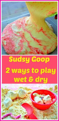 Another Sudsy Goop post: Playing with wet and dry goop. Extend the life of goop Sensory Activities, Craft Activities For Kids, Sensory Play, Preschool Activities, Diy For Kids, Crafts For Kids, Kids Fun, Sensory Boxes, Sensory Table