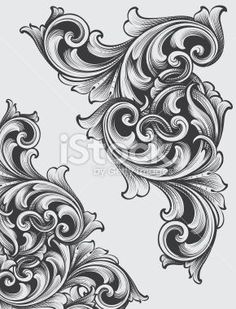 Designed by a hand engraver. Highly detailed authentic engraving… Designed by a hand engraver. Change color and scale easily with the enclosed EPS and AI files. Also includes hi-res JPG. Filigrana Tattoo, Baroque Frame, Schrift Tattoos, Ornamental Tattoo, Geniale Tattoos, Metal Engraving, Engraving Fonts, Engraving Ideas, Leather Pattern