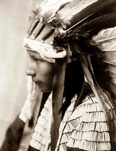 You are viewing an unusual image of the Daughter Bad Horse. It was taken in 1905 by Edward S. Curtis. The image shows a Cheyenne wearing a feather headdress.