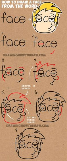 """to Draw Cartoon Faces from the Word Face Easy Step by Step Drawing Tutorial for Kids Learn How to Draw Cartoon Faces from the Word Face Simple Steps Drawing Lesson for KidsEasy Love """"Easy Love"""" may refer to: Drawing Lessons For Kids, Drawing Videos For Kids, Drawing Tutorials For Kids, Art Lessons, Word Drawings, Easy Drawings, Drawing Faces, How To Draw Steps, Learn To Draw"""