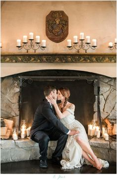 Romantic Wedding Photo must have! Bride & Groom posing with fireplace and candles. Delille Cellars Chateau Wedding. Grey Alexandra Grecco Wedding Gown. Grey, Mint & Copper Color Scheme. Old World Romance in the Pacific Northwest. Woodinville Wedding Photographer DESIGN/STYLING/COORDINATION: RACHEL OF MANETTE GRACIE EVENTS WWW.MANETTEGRACIE... VENUE: DELILLE CELLARS HTTP://WWW.DELILLECELLARS.COM/ PHOTOGRAPHY: B. JONES PHOTOGRAPHY WWW.BJONESPHOTOS.COM GOWN: THE DRESS THEORY…
