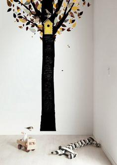 Schoolbordsticker Chalkboard Tree 1 Geel