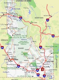 Greetings from Idaho Map of Highlights Idaho Road trips and Vacation