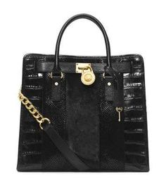 Love the Michael Kors Hamilton Large Hair Calf and Embossed-Leather Tote on Wantering.
