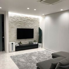 lounge モノトーン モノトーンインテリア 石壁 壁タイル - The world's most private search engine False Ceiling Living Room, Ceiling Design Living Room, Tv Wall Design, Home Room Design, Home Interior Design, Interior Decorating, Design Case, Living Room Tv Unit Designs, Tv Wall Decor