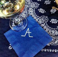 daughter :: daughter: time to bestow :: fifty shades of denim. a canadian tuxedo birthday party. the custom cocktail napkins with the birthday girl's custom brand.
