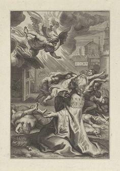 Anonymous   Koning David ziet de engel des doods, Anonymous, Peter Paul Rubens, 1614 - 1683   Een engel met een vlammend zwaard valt mensen aan vanuit de hemel. De geknielde koning David ziet de engel dood en verderf onder het volk van Israel zaaien. Hij smeekt God om genade.