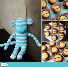 Monkey cupcakes - Chocolate icing, vanilla waker cut in half, chocolate chip eyes and melting chocolate ears