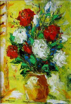 Trandafiri (lll)  pictura pe panza