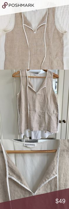 Club Monaco Linen and Silk Shirt size Medium Club Monaco Linen Front and Silk Back Shirt size Medium. Excellent condition. Retail 150 dollars. Club Monaco Tops Blouses