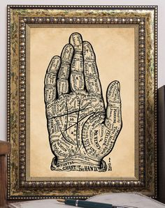 Vintage Palmistry Art Print Chart of the Hand by BiblioGraphique