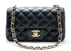 e3f4b743afeb CHANEL MINI Rectangular BLACK Lambskin Flap Bag Light GH MINT! Chanel Mini