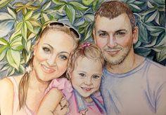 art de portraits Portrait de famille 12x16Custom dessin