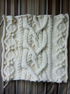 This complex Aran style cable afghan is sure to impress. Single crochet is used on the border of the afghan. Lion Brand Yarn, Afghan Patterns, Single Crochet, Fiber Art, Ravelry, Knit Crochet, Knitting, Beautiful, Crafts