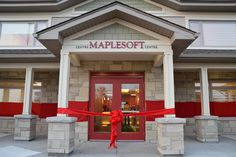 Wrapped the Ottawa Regional Cancer Foundation in a GIANT red ribbon.     Photo Credit: Valberg Imaging