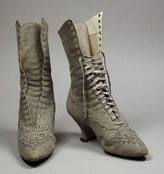 Pair of Womans Boots United States, California, Los Angeles, circa 1890 Costumes; Accessories Suede, leather, cut steel beads 11 x 3 x 9 1/2 in. (27.94 x 7.62 x 24.13 cm) each Costume Council Curatorial Discretionary Fund (M.87.214a-b)