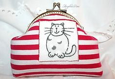 red and white striped cat cosmetic bag cat by AngelineRosePurse Cosmetic Bag, Color Mixing, Red And White, Colours, Cosmetics, Purses, Trending Outfits, Rose, Cats