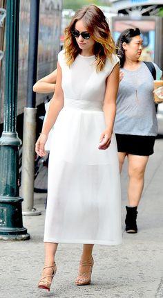 White dress. Olivia Wilde.