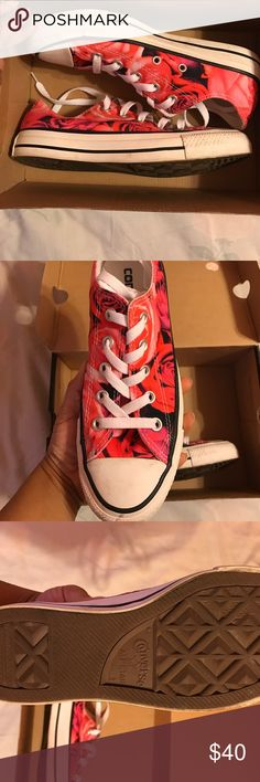 Rose converse Rose patterned Chuck Taylor's worn only a few times will clean before shipping. Size 4 in men's size 5.5 in women's. Converse Shoes Sneakers