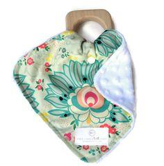 Limited Edition Green Floral Mini Teething Lovie Security Blanket - Lovie Blanket - Teething Blanket - Baby Blanket SKU: BG003GCB01