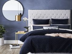 luxe hamptons bedroom ideas adairs navy blue quilted bedding set tlc interiors