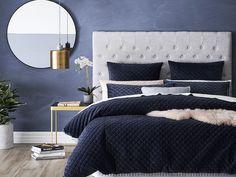Blake Quilted Velvet Quilt Cover Peacock - The sophisticated Blake Quilt Cover features a quilted velvet design that protrudes elegance. Hamptons Bedroom, Blue Gray Bedroom, Bedroom Design, Blue Bedroom Decor, Home Decor, Bedroom Inspirations, Bed Styling, Bedroom Colors, Bedroom