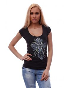 Womens black #fashionable t-shirt with short sleeves and high quality #print made with eco inks, using direct-to-garment printing technology. The #tee is made of high quality cotton fabric, that makes it very comfortable to wear. The t-shirt is with V-neck. #tshirt #fashion #streetstyle #streetwear #teenfashion