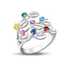 Item no:      113469001    Share  Personalized Leaf-Design Ring With Names And Birthstones  Our Family Of Love Personalized Birthstone Ring