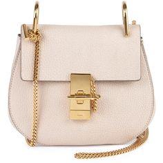 Chloe Drew Small Shoulder Bag ($1,955) ❤ liked on Polyvore featuring bags, handbags, shoulder bags, bolsos, off white, chain strap shoulder bag, chain strap purse, chain purse, chain strap handbag and flap purse