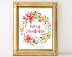 Merry Christmas Print, Christmas Printable, Christmas wall decor, Christmas art…