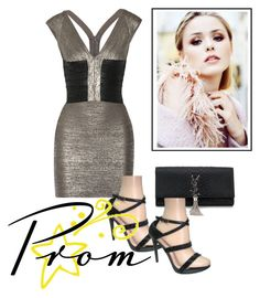 """""""Silver short dress Angie"""" by puddycatshoes ❤ liked on Polyvore featuring Hervé Léger and Yves Saint Laurent"""