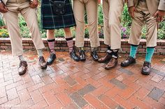 Crazy socks (and a kilt) on the groomsmen.