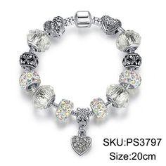 Luxury Brand Women Bracelet Unique Silver Crystal Charm Beads Bracelets & Bangles