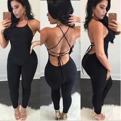 Buy Women Sling Backless Jumpsuit Sexy Bandage Halter Romper Slim Playsuit Casual Fitness Clothes Nightclub Lady Outfits at Wish - Shopping Made Fun Bodycon Jumpsuit, Backless Jumpsuit, Elegant Jumpsuit, Playsuit Romper, Red Romper, Satin Jumpsuit, Romper Suit, Black Jumpsuit, Sexy Outfits