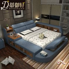 Di Yu Xuan leather tatami beds leather beds double beds m storage bed modern minimalist bedroom Bedroom Bed Design, Bedroom Colors, Bedroom Decor, Bedroom Small, Bedroom Plants, Bedroom Lighting, Bedroom Ideas, Master Bedroom, Modern Minimalist Bedroom