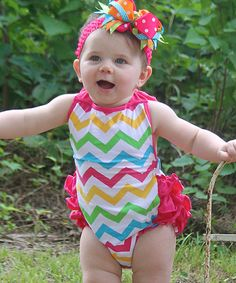 Under The Hooded Towels Fuchsia Chevron Ruffle Halter Romper - Infant My Baby Girl, Girly Girl, Girl Outfits, Cute Outfits, Little Princess, Toddler Girl, Chevron, Infant, Rompers