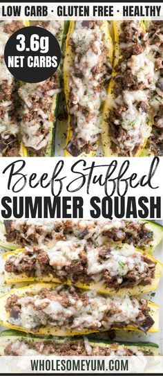 Stuffed Summer Squash Boats with Beef, Shiitake Mushrooms & Swiss Cheese (Low Carb, Gluten-Free) - These easy stuffed summer squash boats are made with yellow squash & zucchini. They're packed with gooey Swiss cheese, ground beef & shiitake mushrooms. Yellow Squash Recipes, Summer Squash Recipes, Yellow Squash And Zucchini, Stuffed Yellow Squash, Stuffed Summer Squash, Low Carb Dinner Recipes, Cooking Recipes, Healthy Recipes, Low Carb Summer Recipes