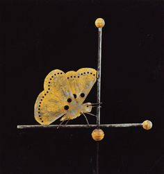A copper butterfly weathervane, attributed to Fiske, late Nineteenth Century, pierced cutout sheet copper with copped wire antennae, yellow and verdigris surface with traces of early gilding, measures 20¼ inches high, 22¼ inches wide, and was estimated at $8/12,000. It realized $41,475.