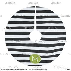 Black and White Striped Pattern Green Monogram Brushed Polyester Tree Skirt